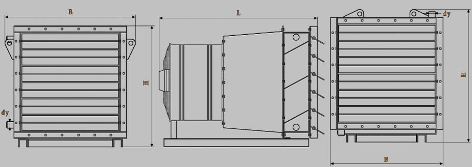 Габаритные размеры воздушно-отопительных агрегатов АО2